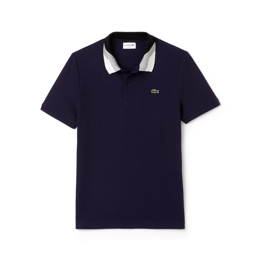 Men's Lacoste Slim Fit Colorblock Striped Knop Piqué Polo Shirt--Navy Blue