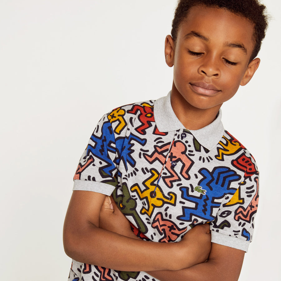 Boys' Lacoste Keith Haring Print Mini Piqué Polo Shirt--Argent Chine/Multico