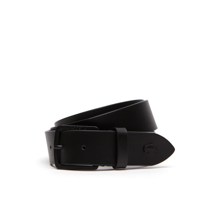 Men's Lacoste Engraved Tongue Buckle Leather Belt--Men's Lacoste Engraved Tongue Buckle Leather Belt