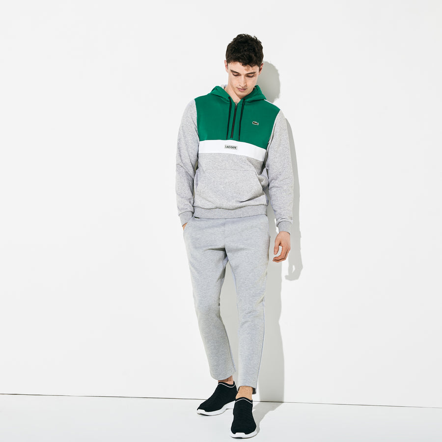 Men's Lacoste SPORT Colorblock Sweatshirt--Woodland Green/Silver Chine-Black