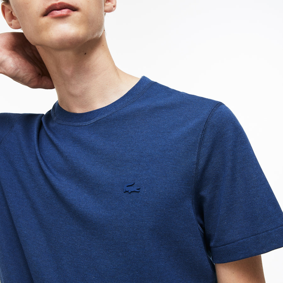 Men's Lacoste Motion Crew Neck Technical Petit Piqué T-shirt--Matelot Chine/Pomegrenate