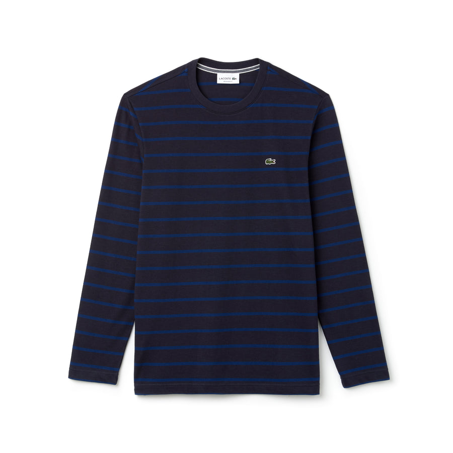 Men's Crew Neck Striped Jersey T-shirt--Meridian Blue/Inkwell