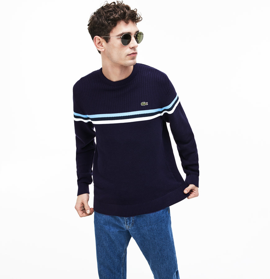 Men's MADE IN FRANCE Crew Neck Tricolor Striped Cotton Sweater--Navy Blue/White-Creek