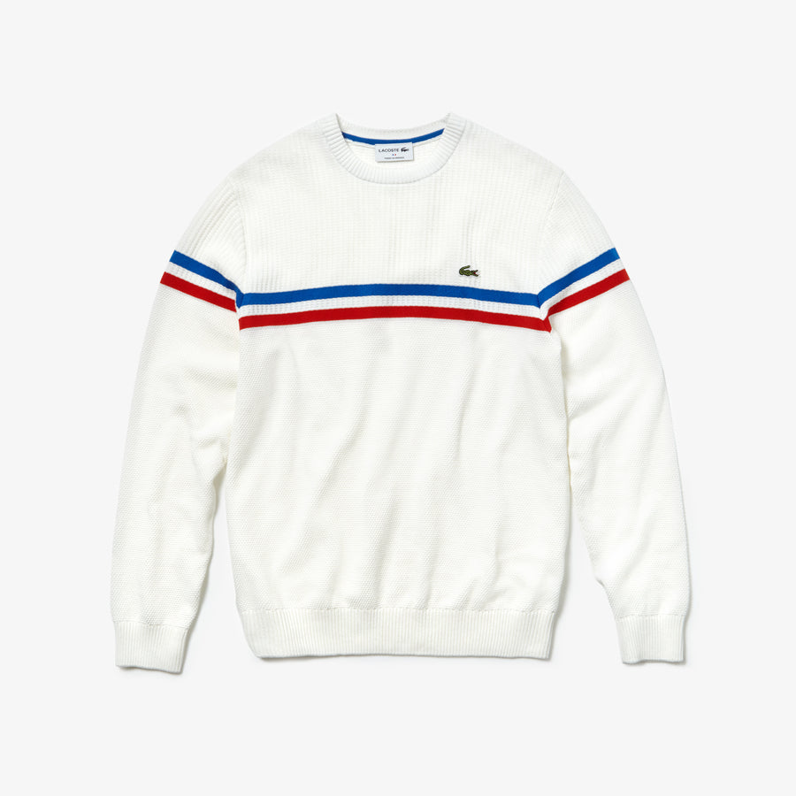 Men's MADE IN FRANCE Crew Neck Tricolor Striped Cotton Sweater--White / Red / Navy Blue