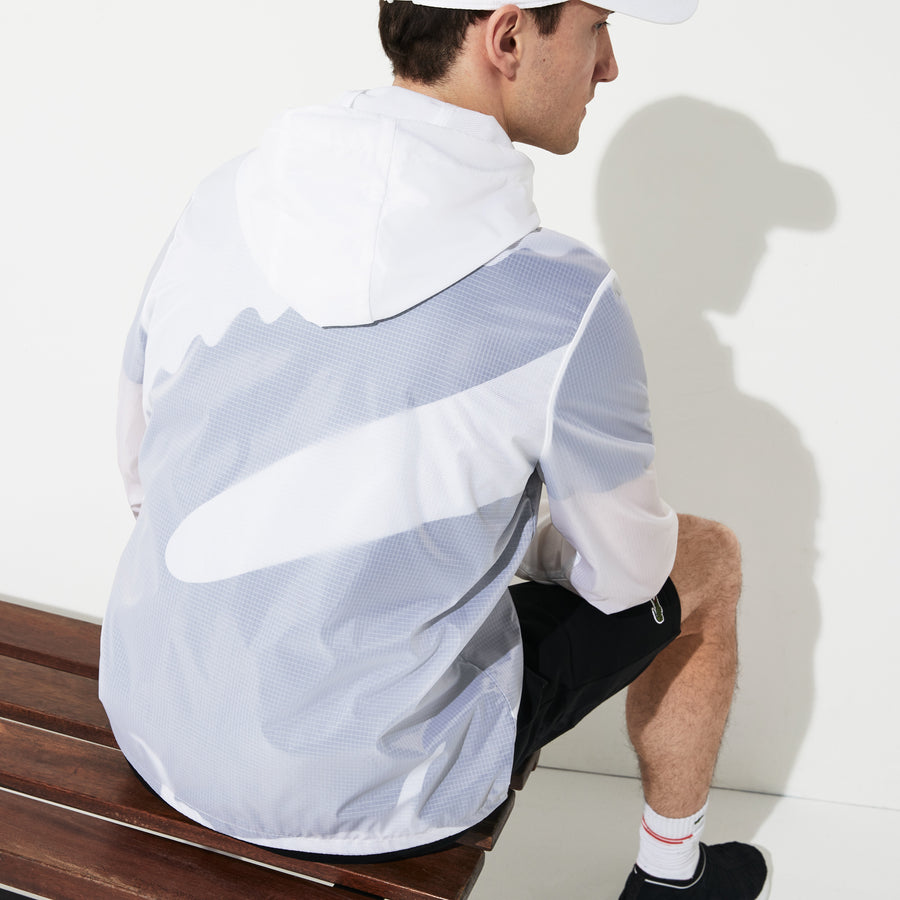 Men's SPORT Oversized Croc Sheer Effect Windbreaker--White/Black