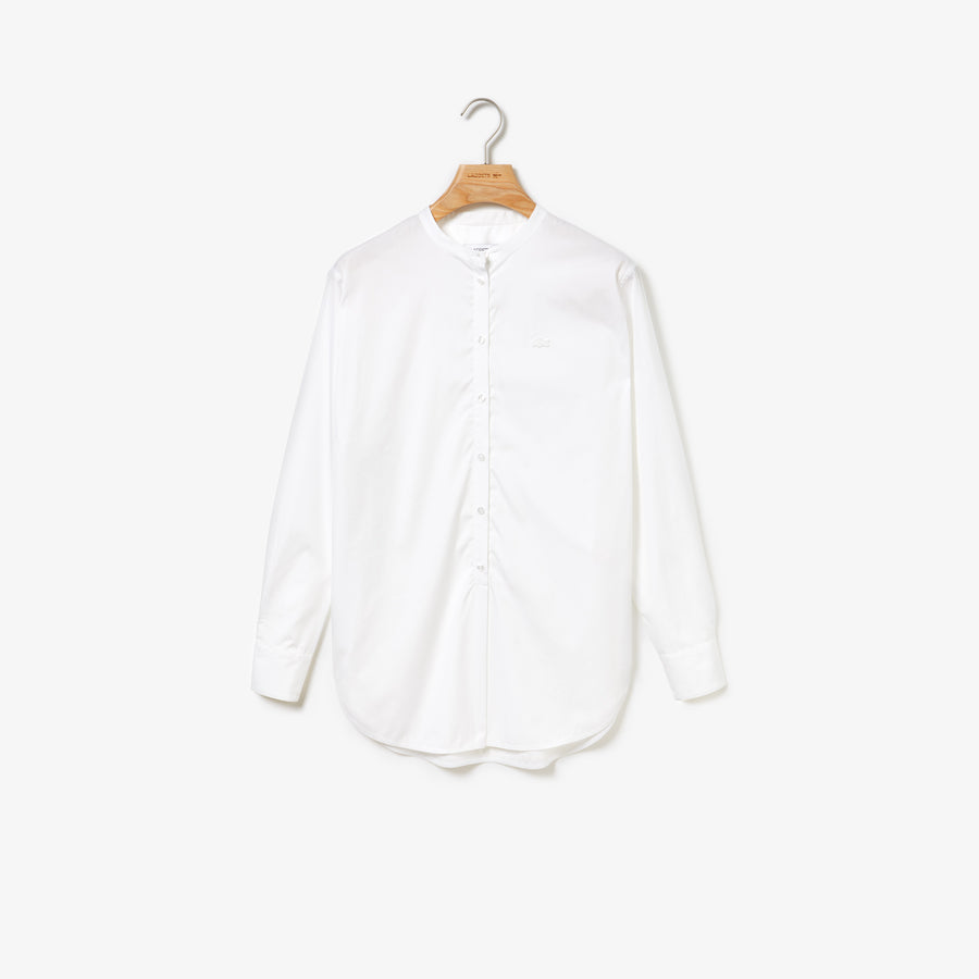 Women's Loose Fit Mao Collar Striped Cotton Poplin Shirt--White/White
