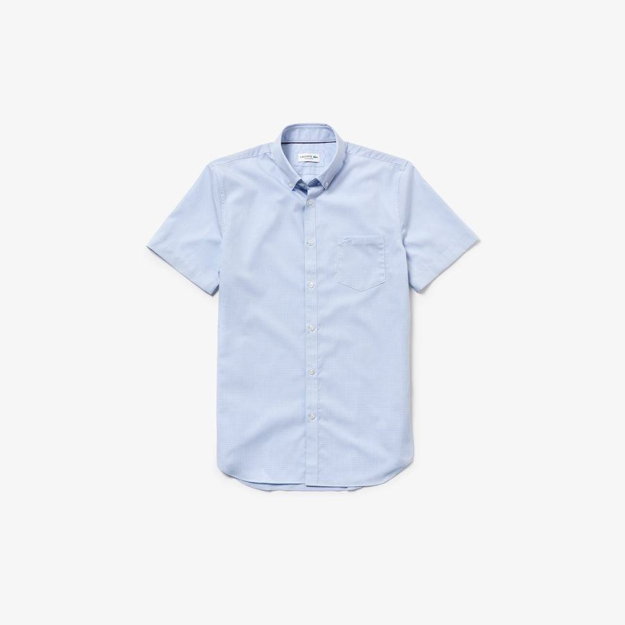 Men's Regular Fit Mini Check Poplin Shirt--Hemisphere Blue