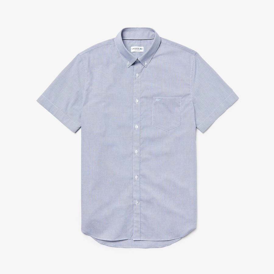 Men's Regular Fit Mini Check Poplin Shirt--Navy Blue/White