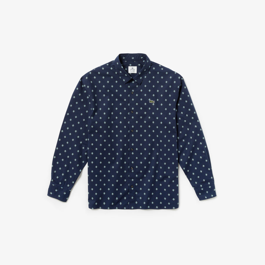 Men's Lacoste LIVE Boxy Fit Mini Paisley Print Poplin Shirt--Navy Blue/Multico