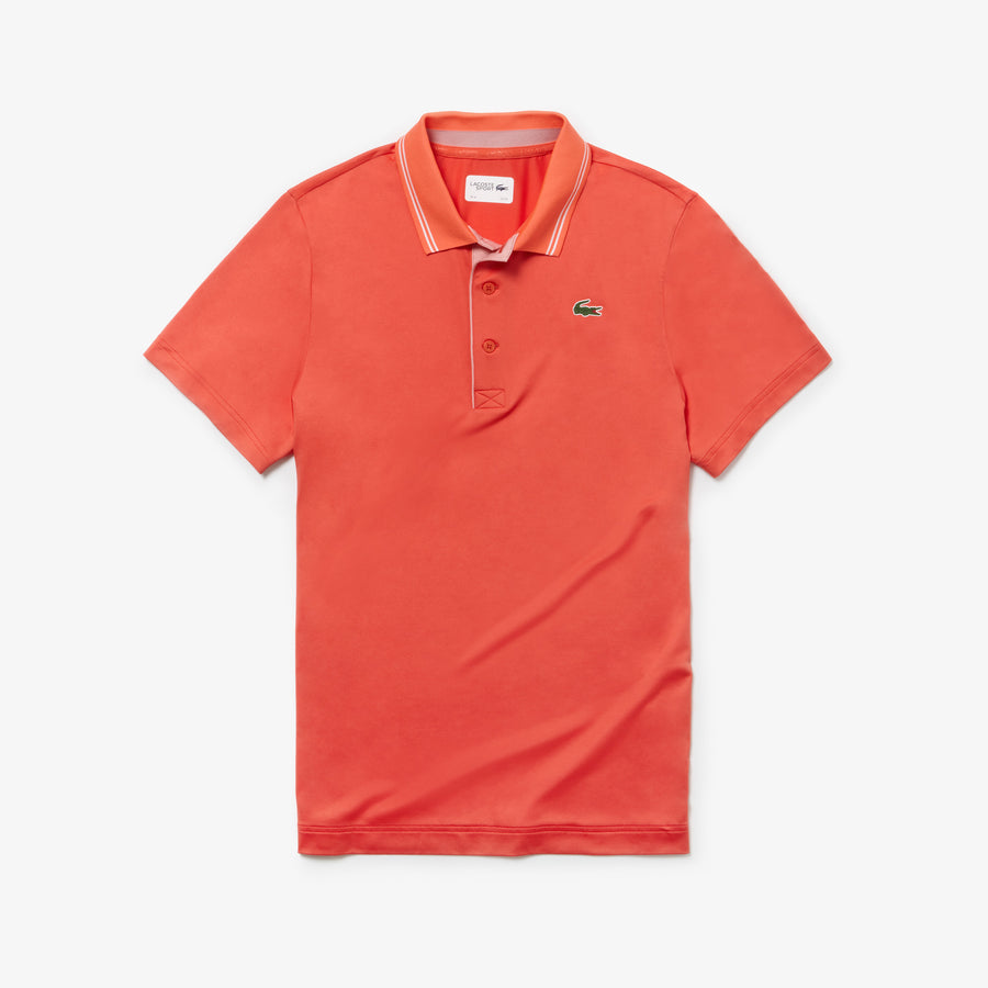 Men's Lacoste SPORT Lettering Stretch Technical Jersey Golf Polo Shirt--Mango Tree Red/White-Baga