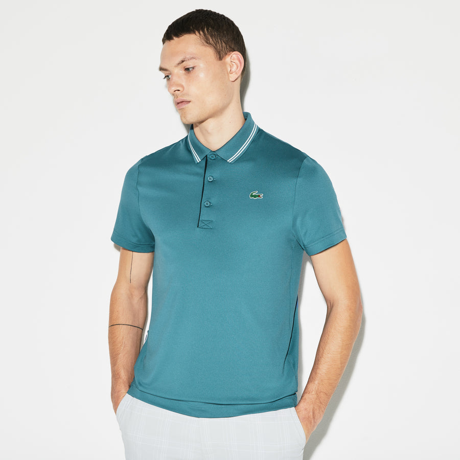 Men's Lacoste SPORT Lettering Stretch Technical Jersey Golf Polo Shirt--Neottia/White-Navy Blue