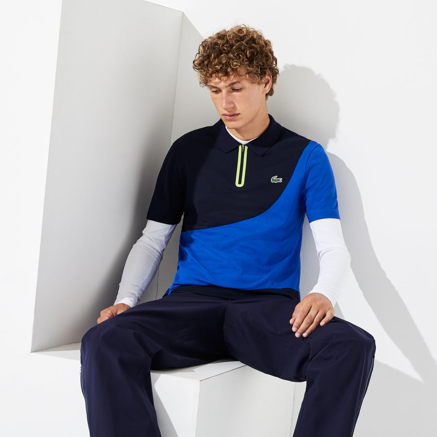 Men's Lacoste SPORT Colorblock Piqué Golf Polo Shirt--Navy Blue/Aviator-Onagre