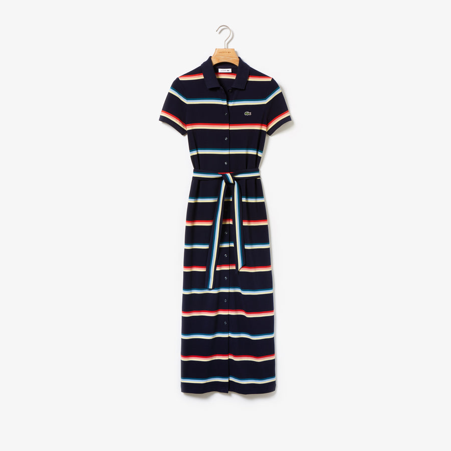 Women's Striped Cotton Piqué Buttoned Long Polo Dress--Navy Blue