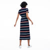 Women's Striped Cotton Piqué Buttoned Long Polo Dress