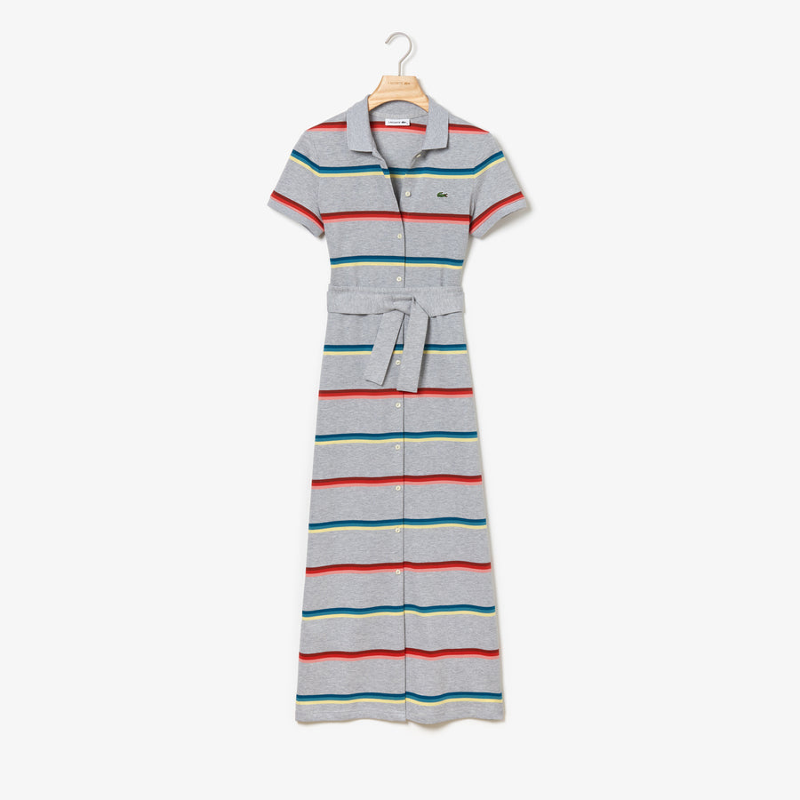 Women's Striped Cotton Piqué Buttoned Long Polo Dress--Silver Chine