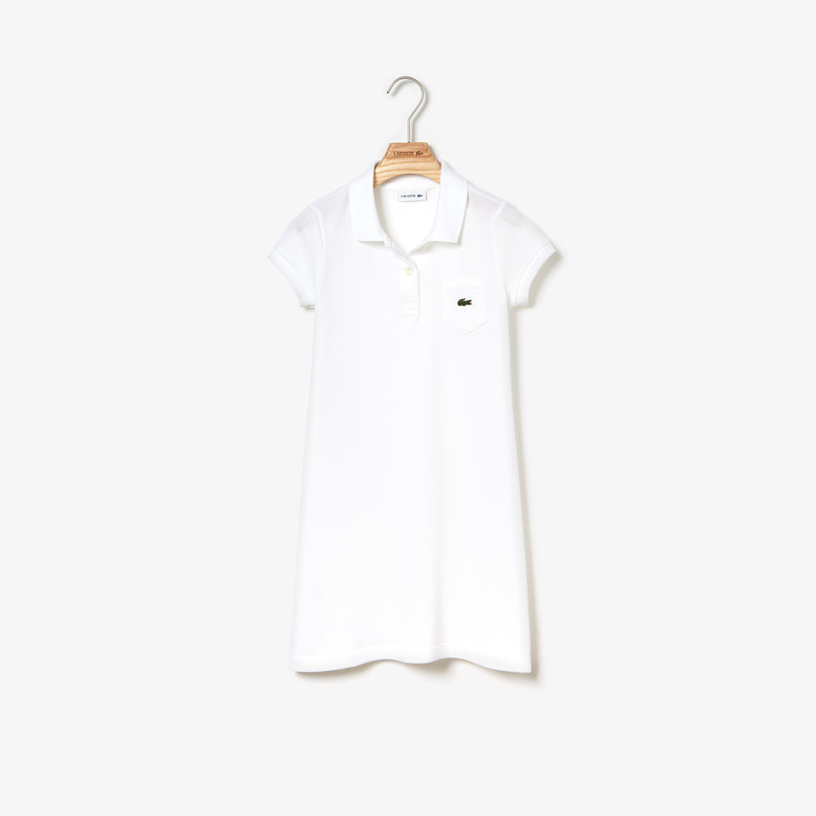 Girls' Flared Dress In Solid Mini Piqué Cotton--White