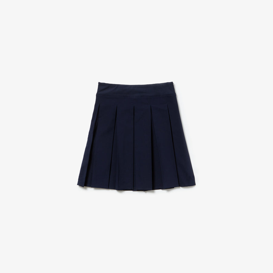 Girls' Pleated Jersey Skirt--Navy Blue