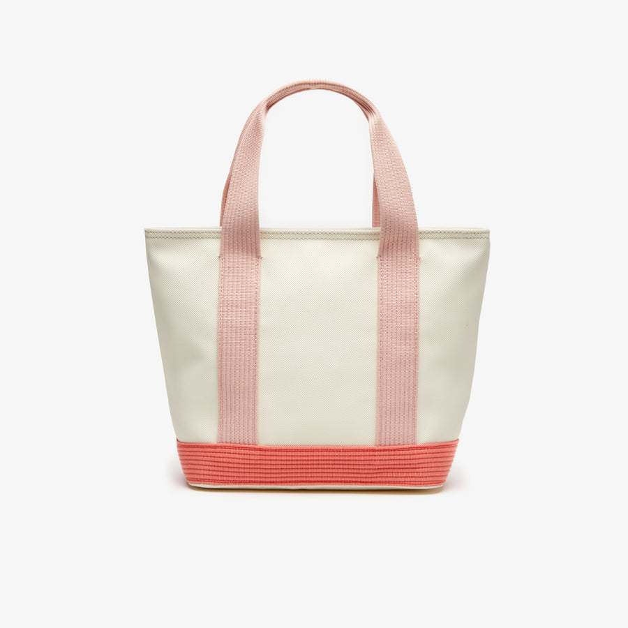 Women's Classic Coated Petit Piqué Small Zip Canvas Tote Bag--Papyrus Coral Mellow