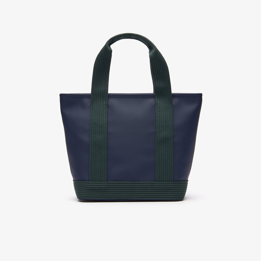 Women's Classic Coated Petit Piqué Small Zip Canvas Tote Bag--Peacoat Greener