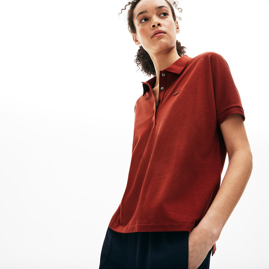 Women's Lacoste Boxy Fit Flowing Stretch Cotton Piqué Polo Shirt--Iberis