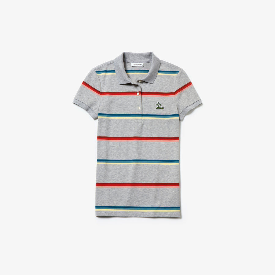 Women's Lacoste Hooded Cotton Piqué Polo Shirt--Silver Chine