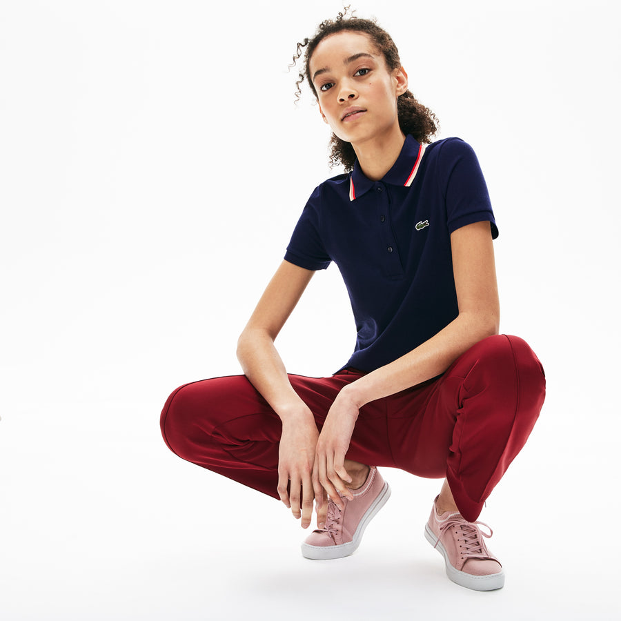 Women's Slim Fit Contrast Collar Polo Shirt--Navy Blue