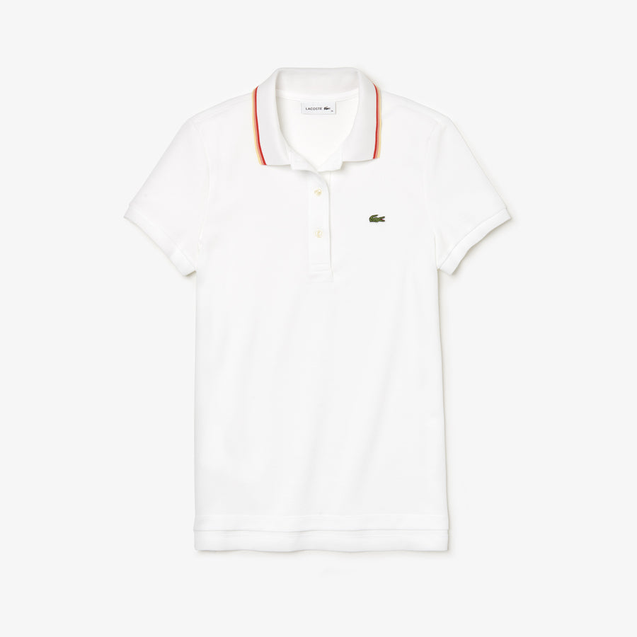 Women's Slim Fit Contrast Collar Polo Shirt--White