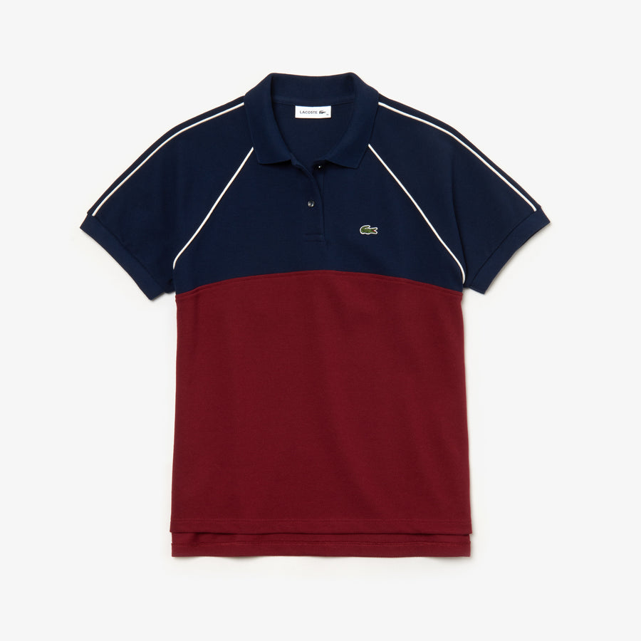 Women's Colorblock Polo Piqué--Navy Blue/Pinot-Flour