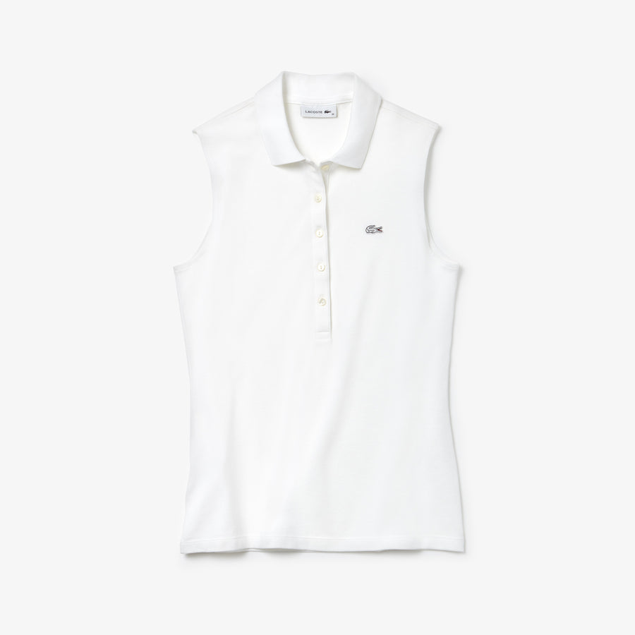 Women's Lacoste Slim Fit Stretch Mini Piqué Polo--White