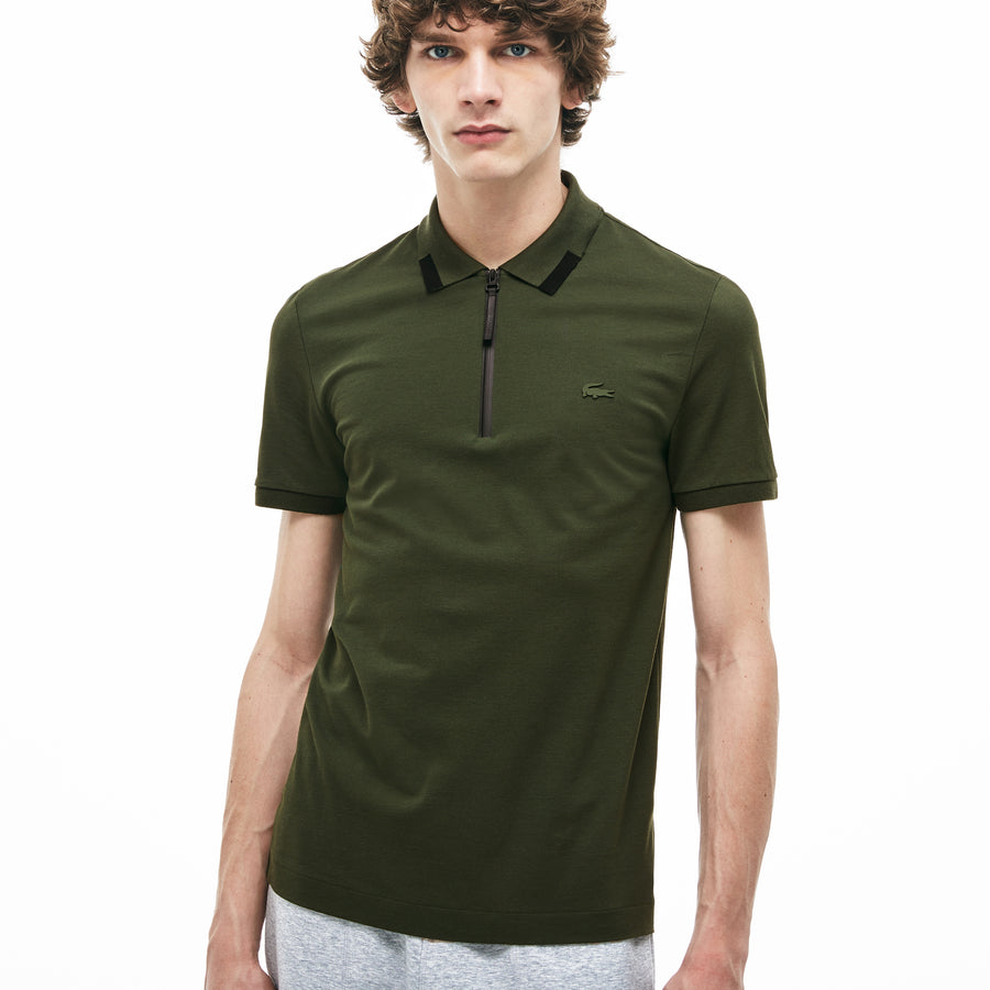 Men's Motion Slim Fit Zip Collar Polo Shirt