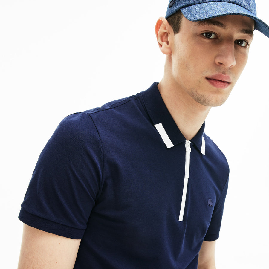Men's Motion Slim Fit Zip Collar Polo Shirt--Navy Blue