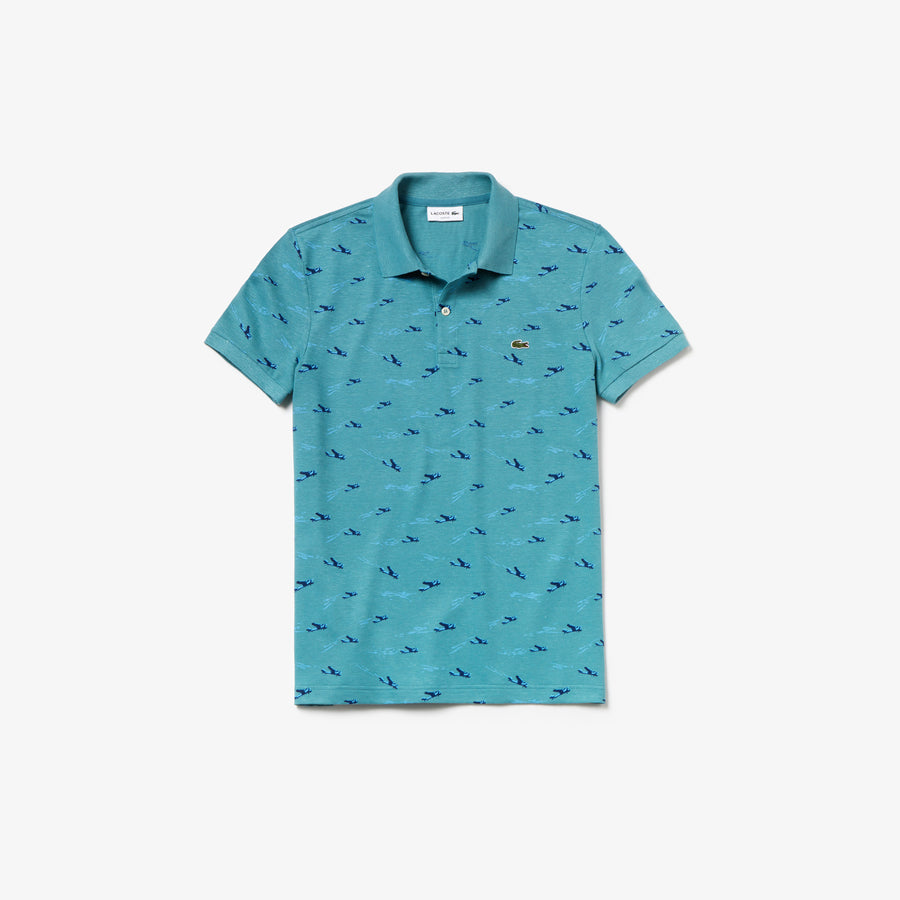 Men's Lacoste Slim Fit Airplane Print Cotton And Linen Piqué Polo Shirt--Blue / White