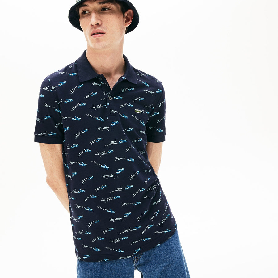 Men's Lacoste Slim Fit Airplane Print Cotton And Linen Piqué Polo Shirt--Navy Blue/Multico