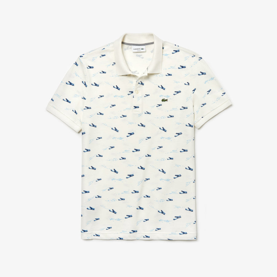 Men's Lacoste Slim Fit Airplane Print Cotton And Linen Piqué Polo Shirt--White / White