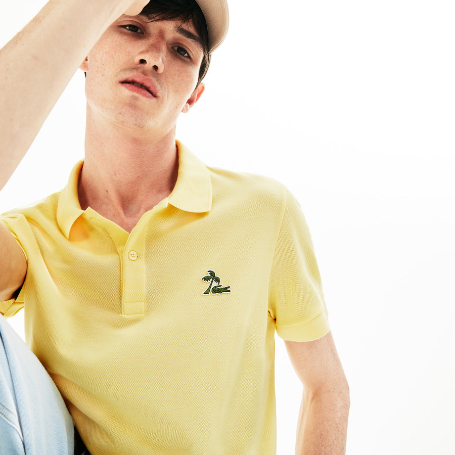 Men's Lacoste Regular Fit Palm Tree Croc Cotton Petit Piqué Polo Shirt--Napolitan Yellow