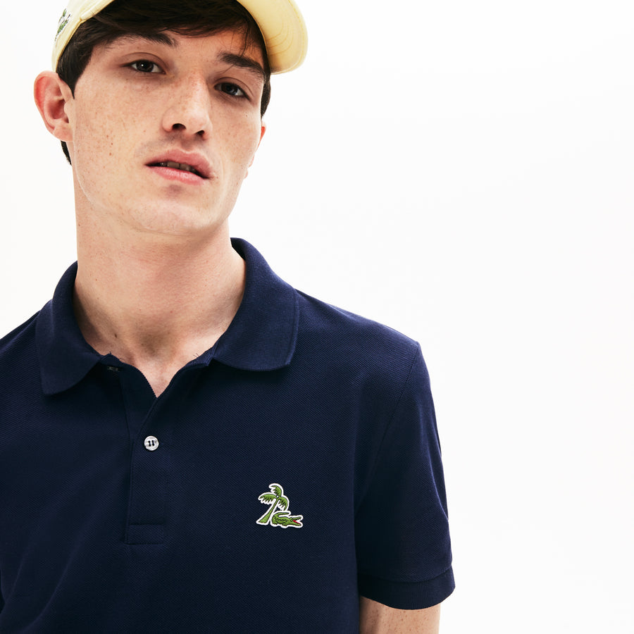Men's Lacoste Regular Fit Palm Tree Croc Cotton Petit Piqué Polo Shirt--Navy Blue