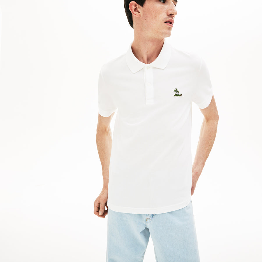 Men's Lacoste Regular Fit Palm Tree Croc Cotton Petit Piqué Polo Shirt--White