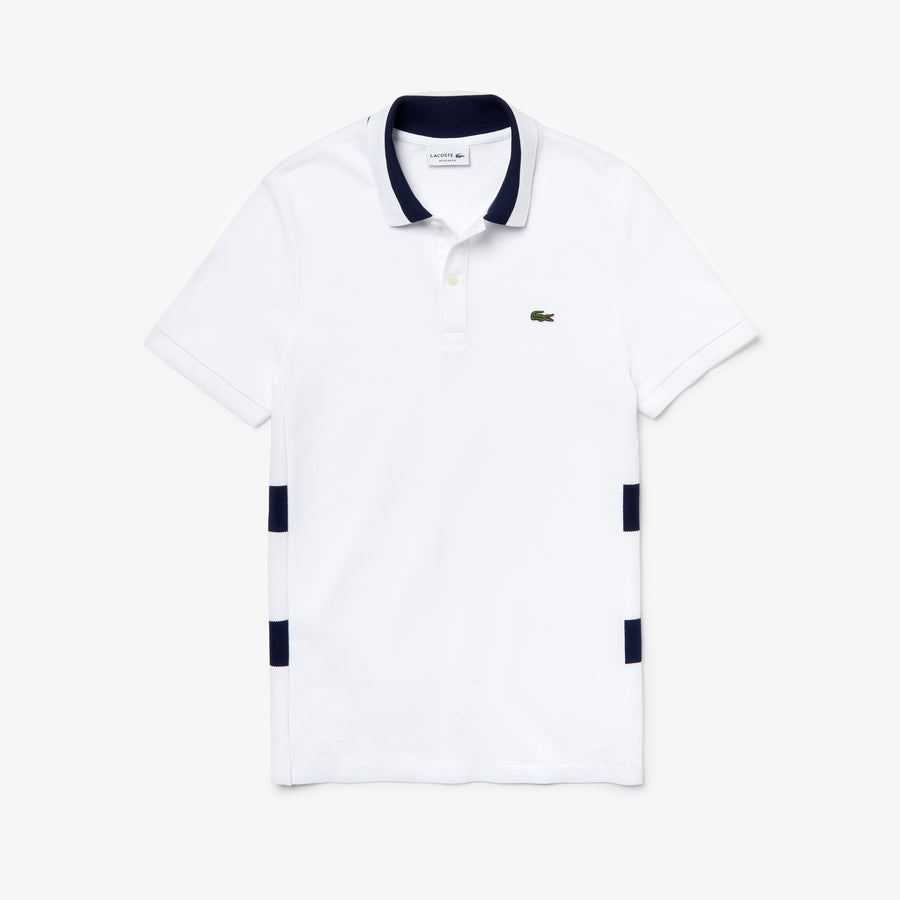 Men's Regular Fit Polo Piqué--White/Navy Blue