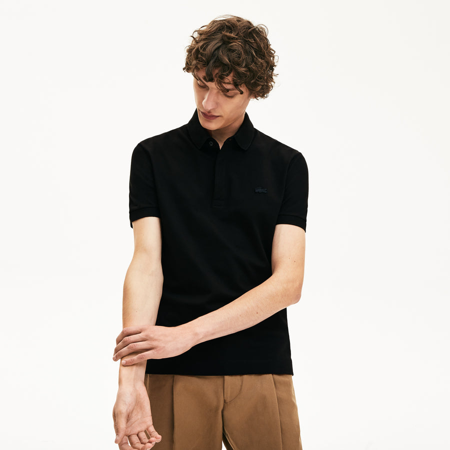 Men's Lacoste Paris Polo Shirt Regular Fit Stretch Cotton Piqué--Black
