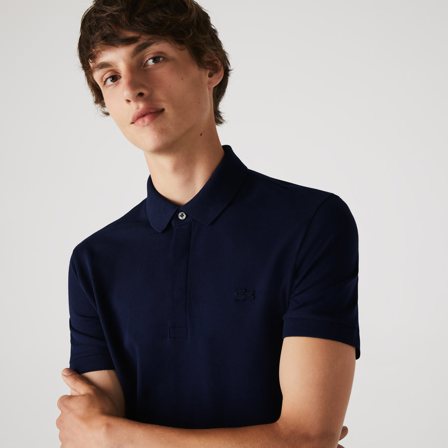 Men's Lacoste Paris Polo Shirt Regular Fit Stretch Cotton Piqué--Navy Blue