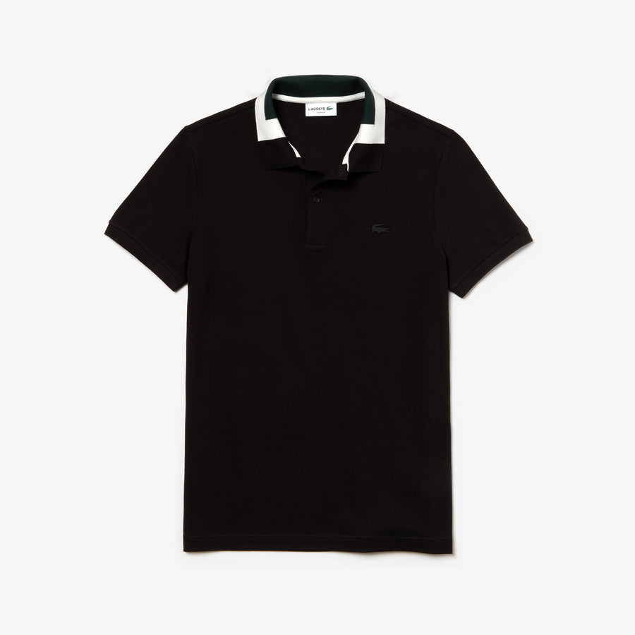 Men's Colorblock Collar Cotton Piqué Polo Shirt--Black