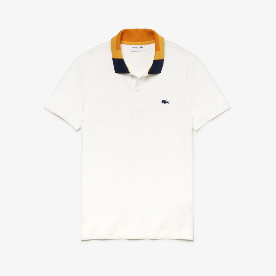 Men's Colorblock Collar Cotton Piqué Polo Shirt--Flour