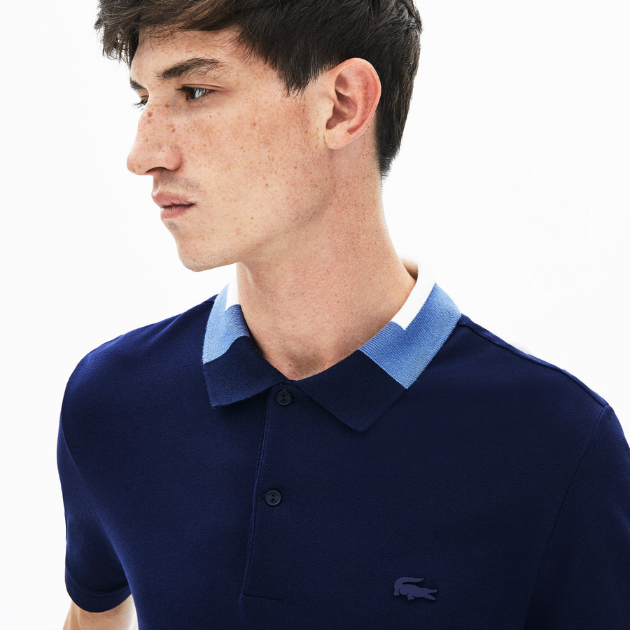 Men's Colorblock Collar Cotton Piqué Polo Shirt--Navy Blue