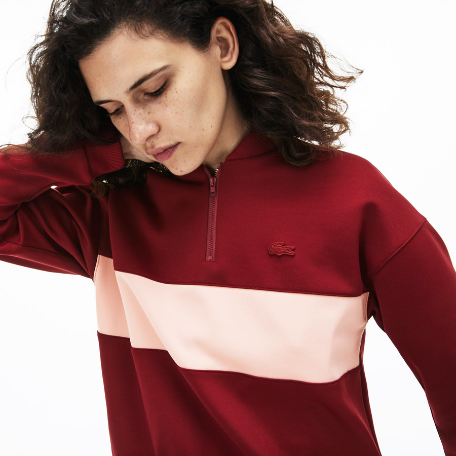 Women's Zip Banana Neck Colourblock Neoprene Sweatshirt--Pinot/Cembra