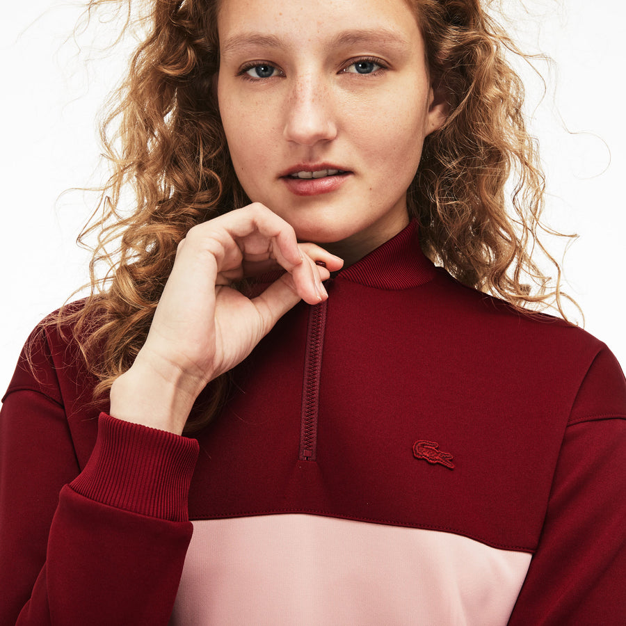 Women's Zip Banana Neck Colourblock Neoprene Sweatshirt--Women's Zip Banana Neck Colourblock Neoprene Sweatshirt