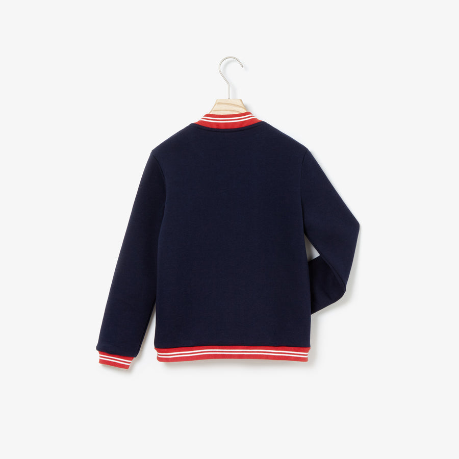 Girls' Keith Haring Print Teddy Neck Cotton Sweatshirt--Navy Blue/Salvia-White