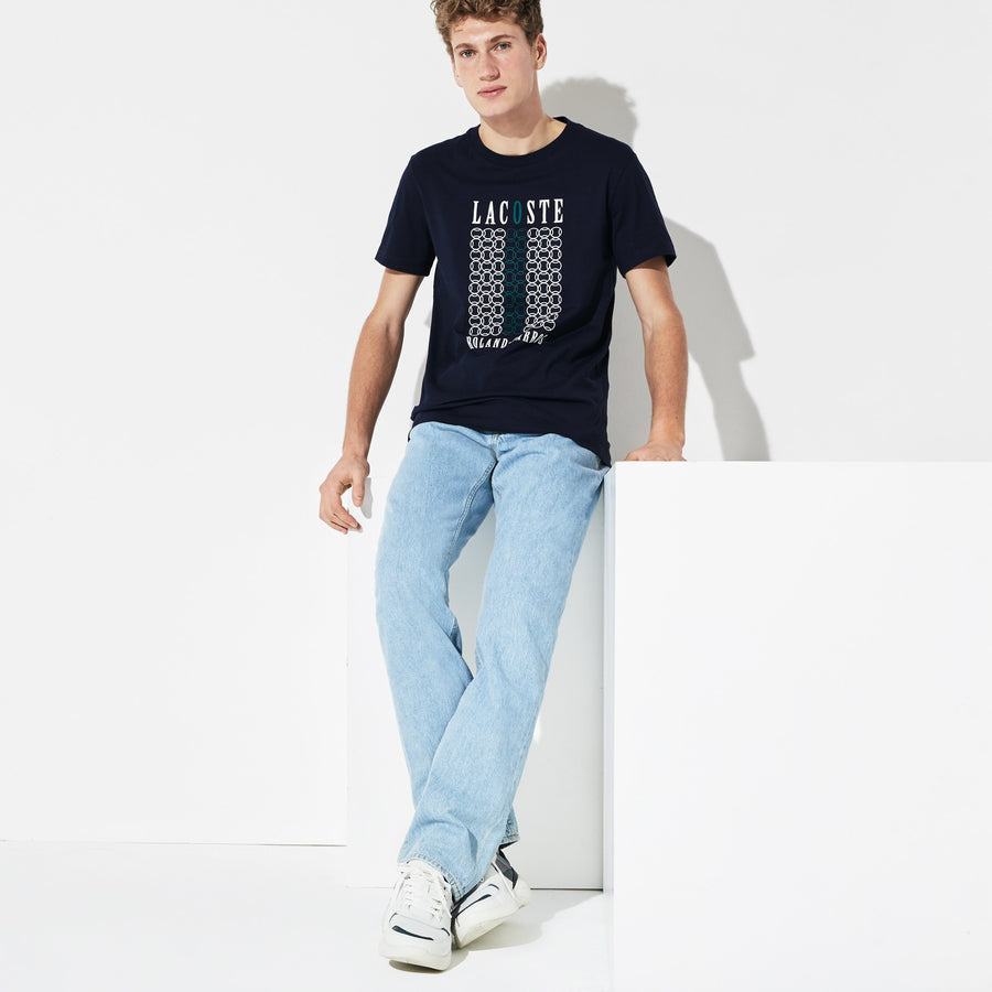 Men's Lacoste SPORT French Open Edition Tennis Ball Print T-shirt--Navy Blue/White-Woodland