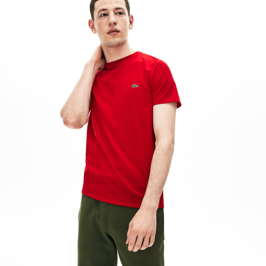 Men's Crew Neck Pima Cotton Jersey T-shirt--Red