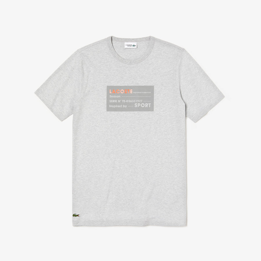 Men's Lacoste SPORT 3D Print Cotton T-Shirt--Grey Chine/Orange