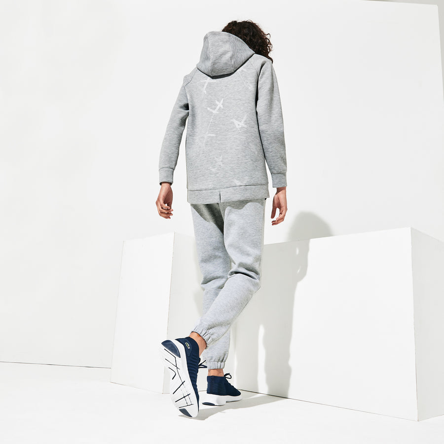 Women's Lacoste SPORT Signature Drawstring Fleece Tracksuit Trousers--Grey Chine-Cca/White-001/Black-031